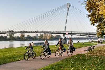 Cyclists at the Rhine in Strasbourg